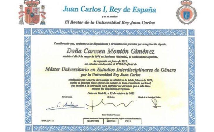 Título de Carmen Montón en Estudios Interdisciplinaes de Género. /Foto: El diario.es