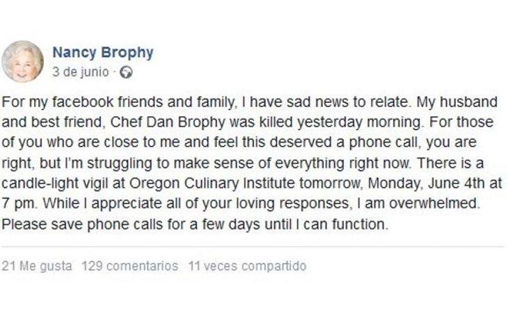 Publicación de Crampton en su Facebook