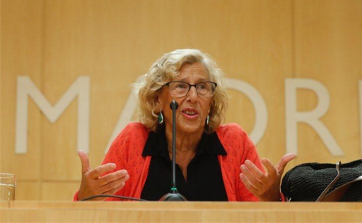 Manuela Carmena durante una comparerencia ante los medios en el Ayuntamiento de Madrid