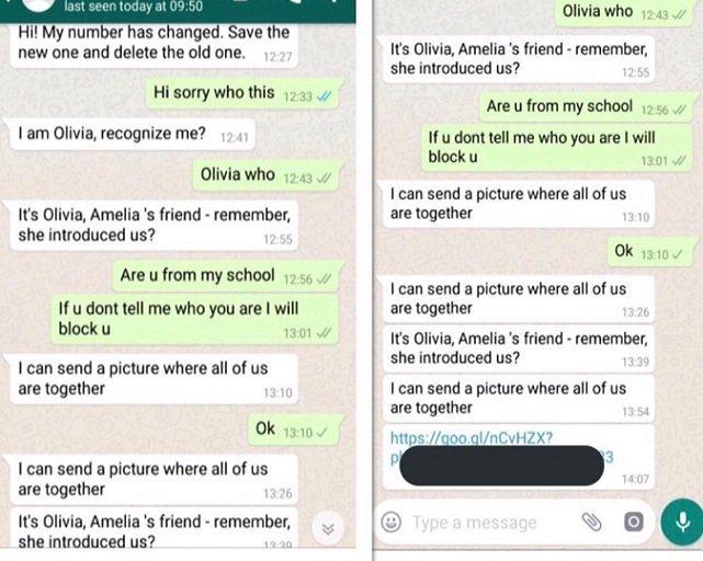 Mensajes de Olivia en WhatsApp