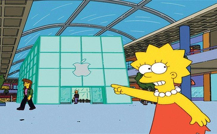 Lisa señalando una tienda de Mapple