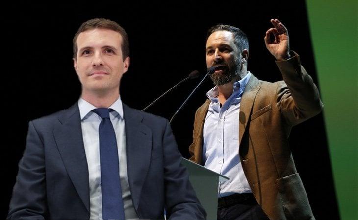 Pablo Casado (PP) y Santiago Abascal (Vox)