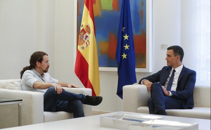 Pablo Iglesias y Pedro Sánchez reunidos en La Moncloa