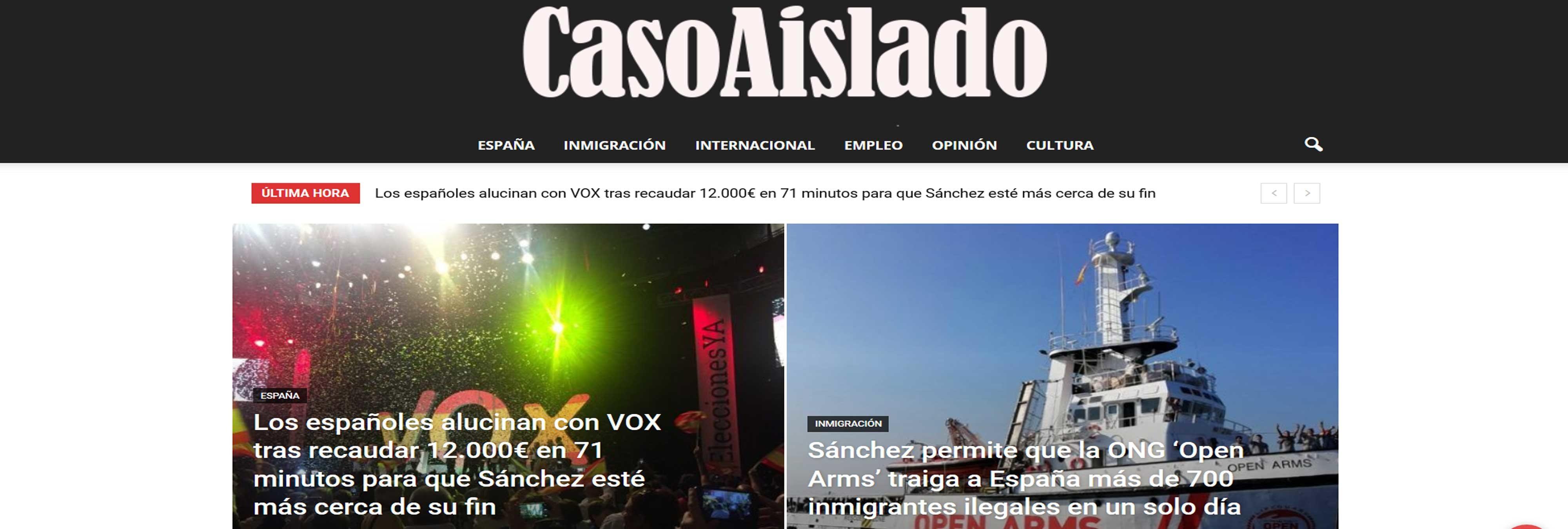 El portal 'Caso Aislado', una maquina de fabricar fake news vinculada a VOX