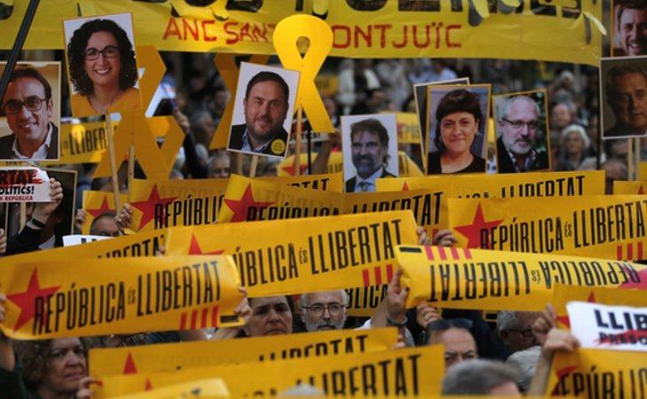 Manifestación en Barcelona a favor de la liberación de los políticos independentistas