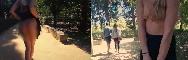 La chica francesa mostrándose en el vídeo