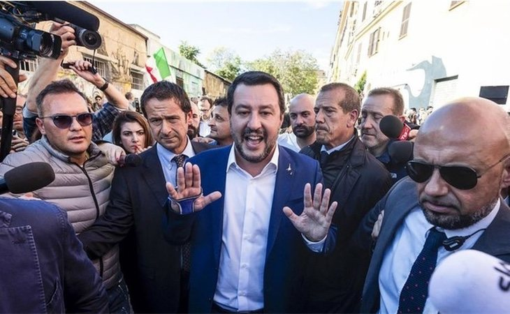 Matteo Salvini a su llegada a San Lorenzo