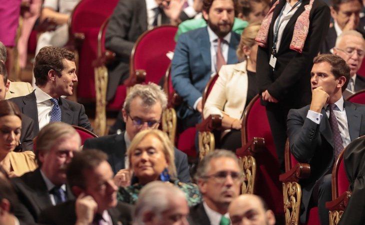 Pablo Casado y Albert Rivera en la ceremonia de los premios Princesa de Asturias