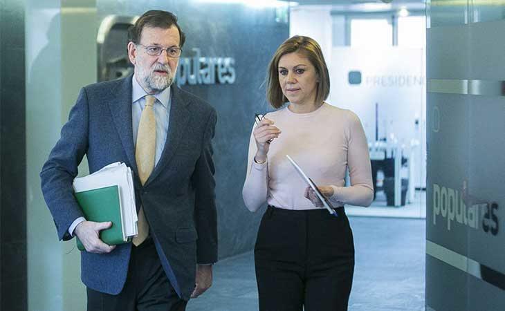 Rajoy y Cospedal en la sede del PP en Génova