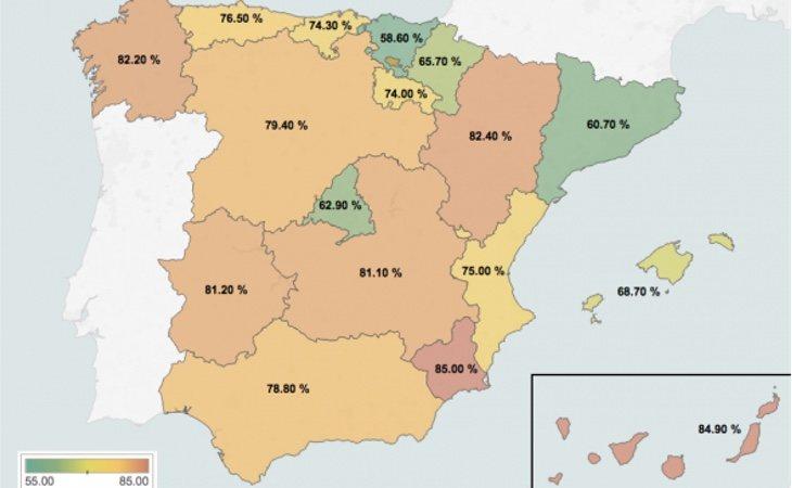 Católicos por CCAA en 2012
