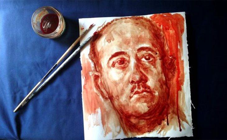 Retrato de Franco pintado con sangre