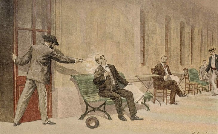 Ilustración del asesinato en un libro de Francisco Pi y Margall
