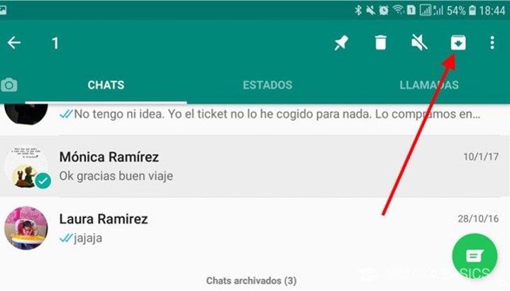 'Archivar' aparece en Android en la parte superior derecha