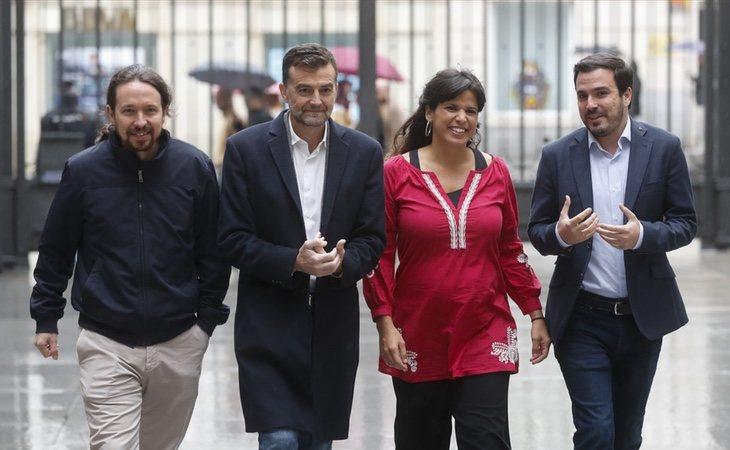 Pablo Iglesias, Antonio Maíllo, Teresa Rodríguez y Alberto Garzón