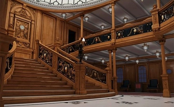 Modelo de cómo sería la gran escalera del barco, igual a la original