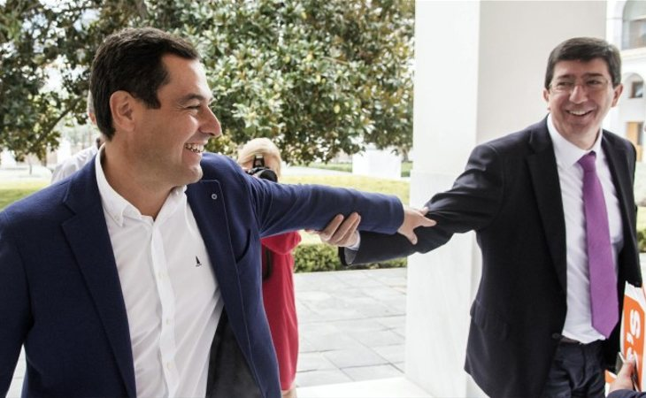 Juanma Moreno (PP) y Juan Marín (Cs), posible pacto en Andalucía