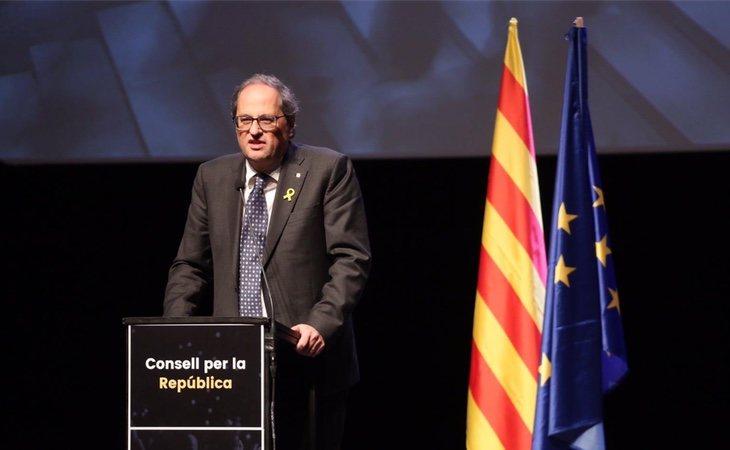 La presentación en Bruselas de Consell per la República fue liderada por Torra y Puigdemont