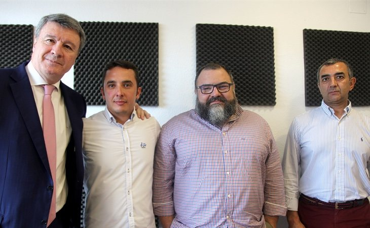 Rafael López (AES), Pedro Chaporro (DN), Norberto Pico (JONS) y Manuel Andrino (Falange)