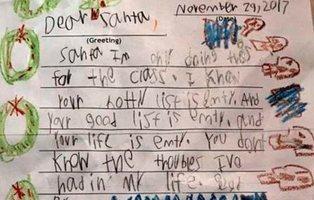 """La terrible carta de un niño descontento con Papá Noel: """"Tu vida está vacía"""""""