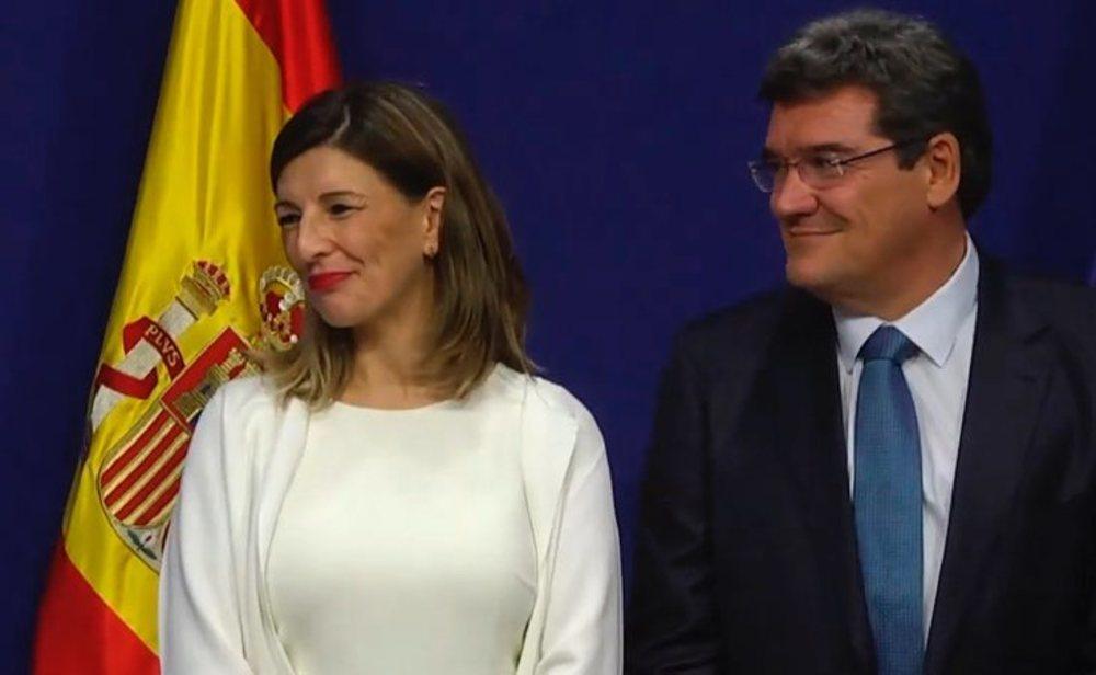 Yolanda Díaz, ministra de Trabajo, y José Luis Escrivá, ministro de Inclusión, Seguridad Social y Migraciones