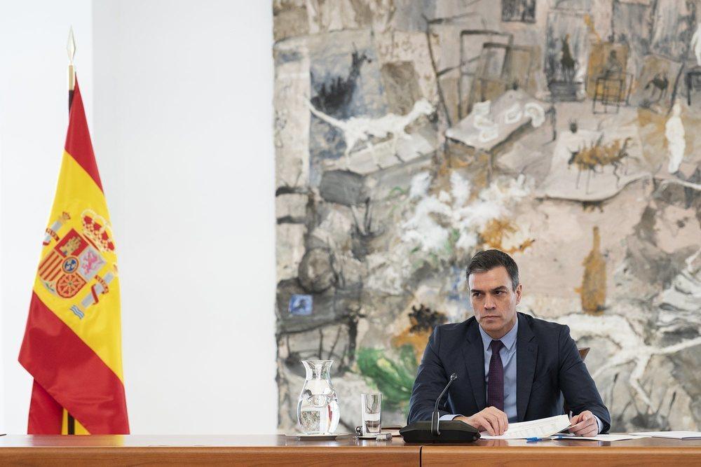 Pedro Sánchez, durante la reunión del Comité Técnico sobre el coronavirus