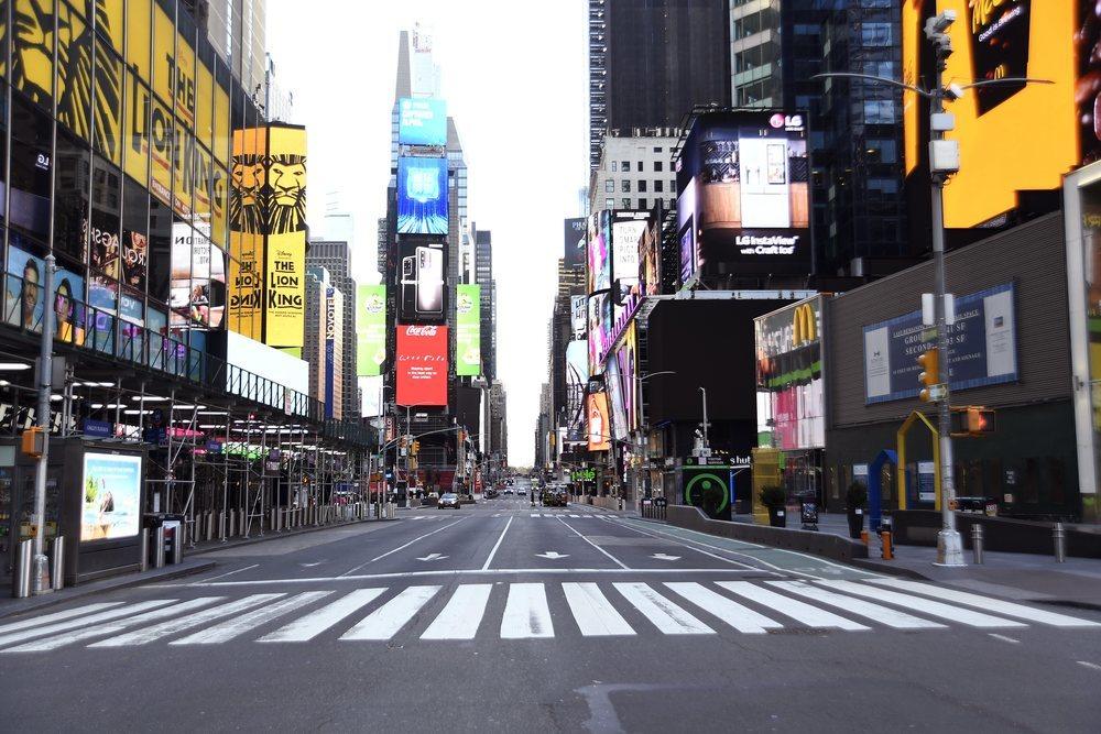 Times Square, vacío por la cuarentena en Nueva York