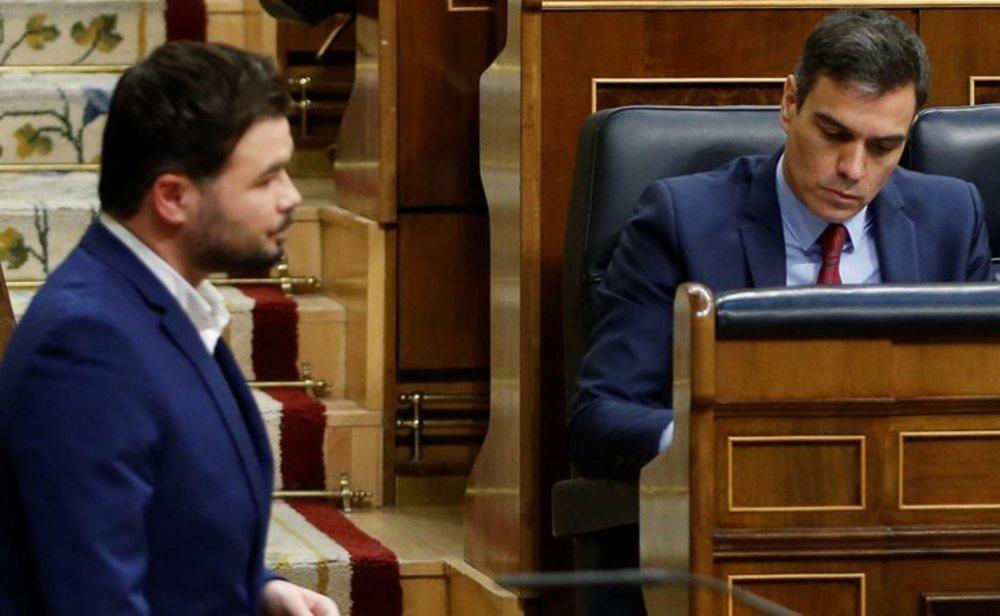 Gabriel Rufián y Pedro Sánchez en el Congreso de los diputados