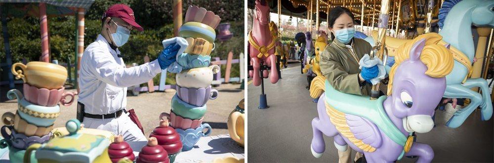 Empleados de Disney desinfectan las instalaciones en Shanghai