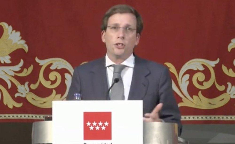 El alcalde de Madrid, José Luis Martínez Almeida, durante la rueda de prensa