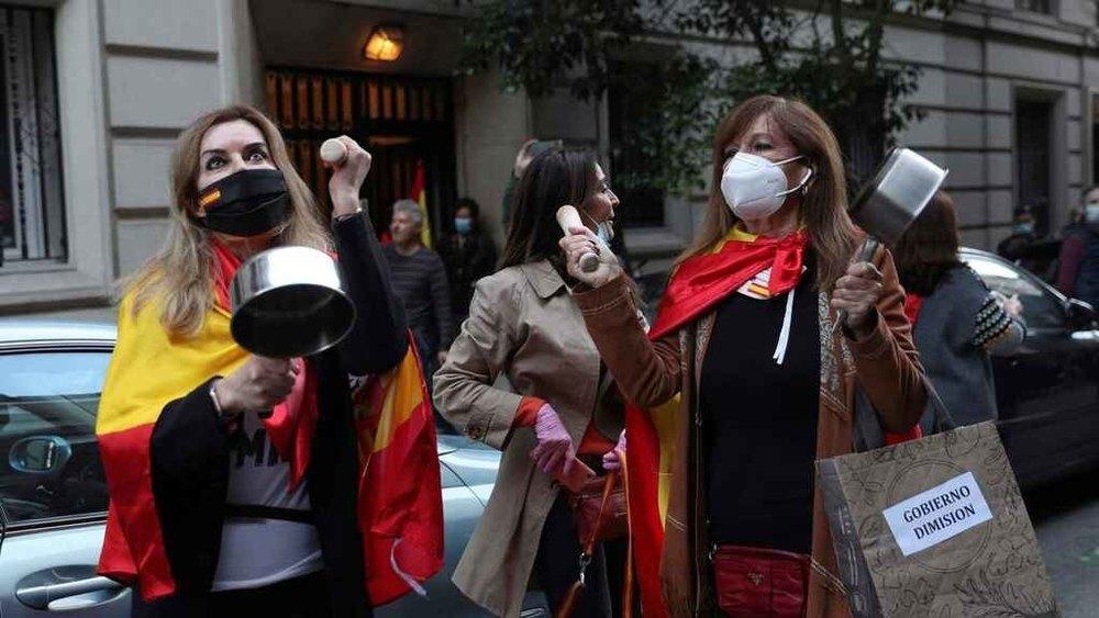 Protestas en contra del confinamiento en el barrio Salamanca
