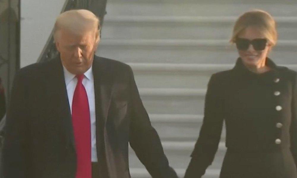 Donald Trump, durante su salida junto a Melania