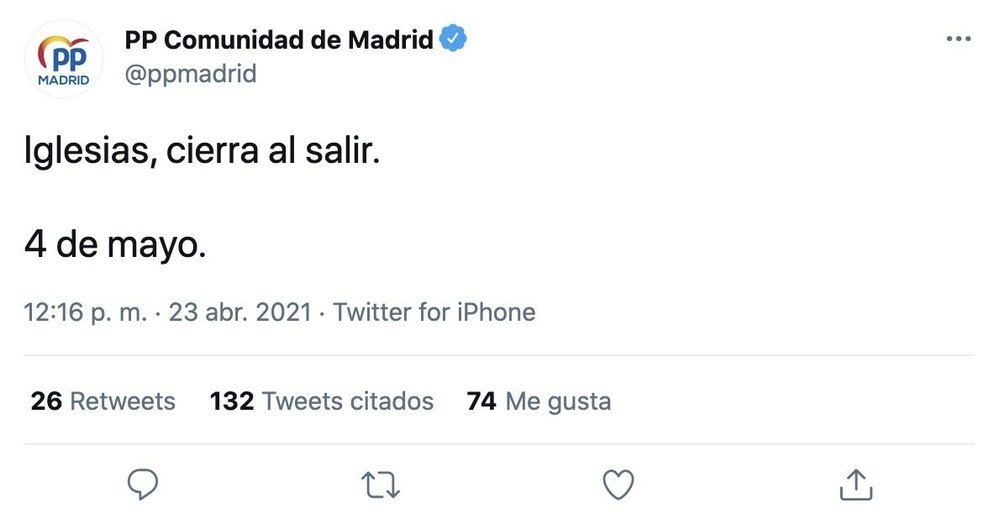 El tuit publicado por el PP