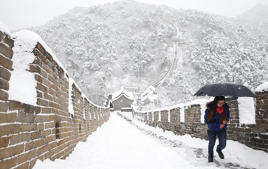 La Gran Muralla china bajo la nieve