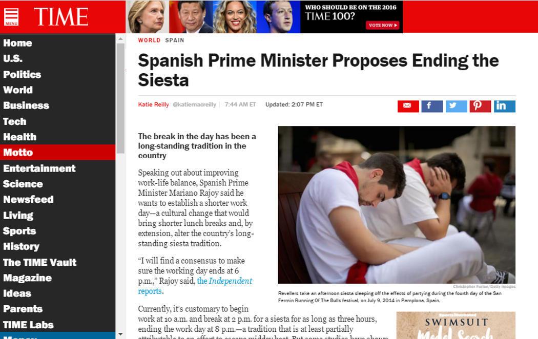 Los medios internacionales creen que Rajoy quiere eliminar la siesta