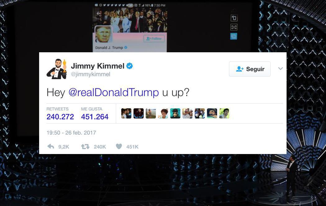 Jimmy Kimmel tuitea a Trump en directo durante los Oscar