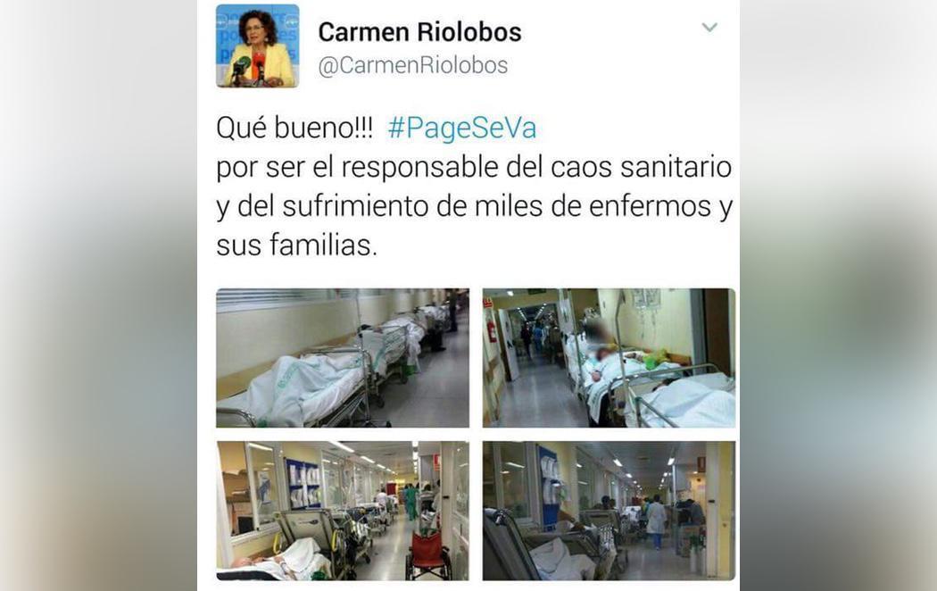 El PP critica los colapsos sanitarios en Castilla la-Mancha con fotografías de la época en que gobernaba