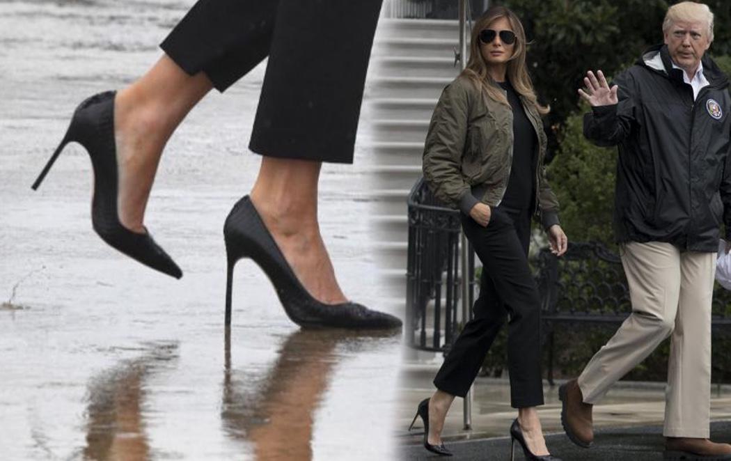 Polémica por los tacones con los que Melania Trump visitó a las víctimas de las inundaciones en Houston