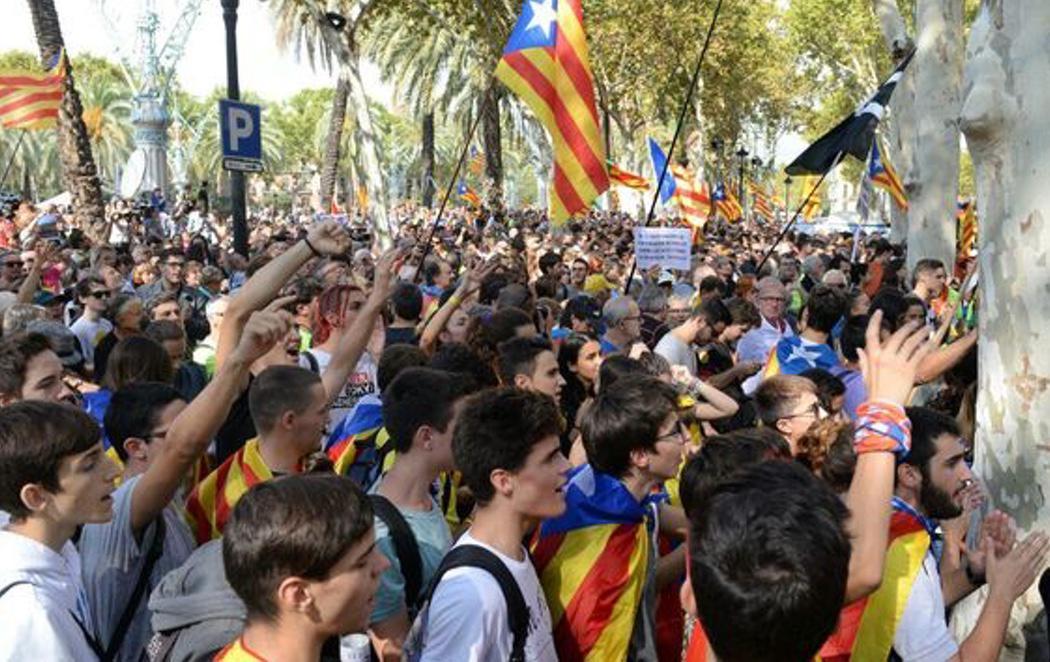 Concentración frente al Tribunal Superior de Justicia catalán para exigir la puesta en libertad de los detenidos