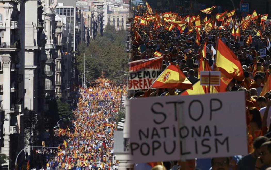 PP, Ciudadanos se manifiestan en Barcelona por la unidad de España