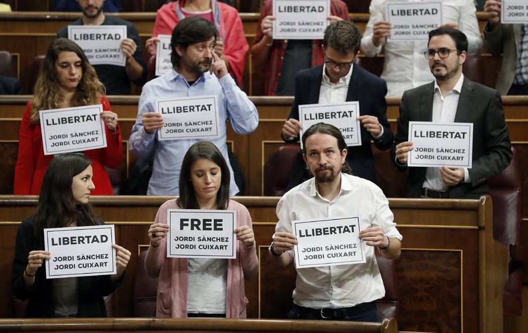 """Unidos Podemos y PDeCAT piden la libertad de los """"presos políticos"""""""