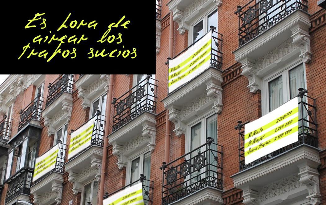 Lanzan una campaña para llenar los balcones de España de 'Papeles de Bárcenas'