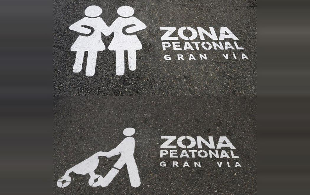 Carmena señaliza la zona peatonal de Gran Vía con figuras diversas e inclusivas