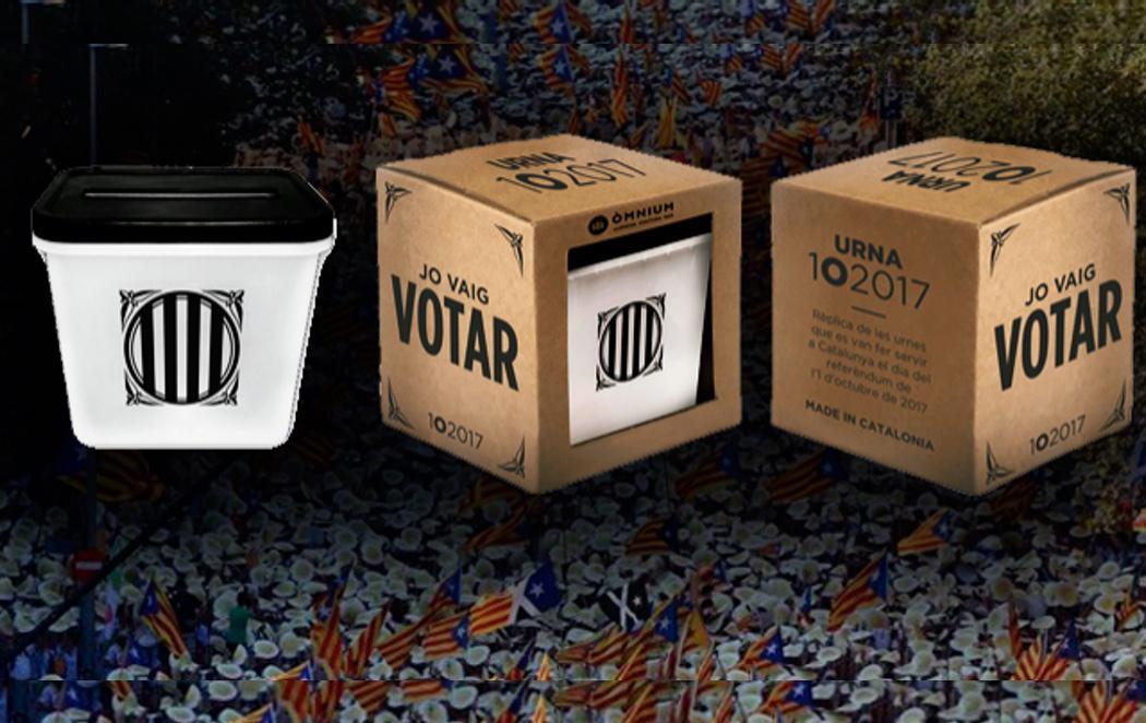 Ómnium lanza urnas del 1-O en miniatura para regalar estas navidades a tu familia