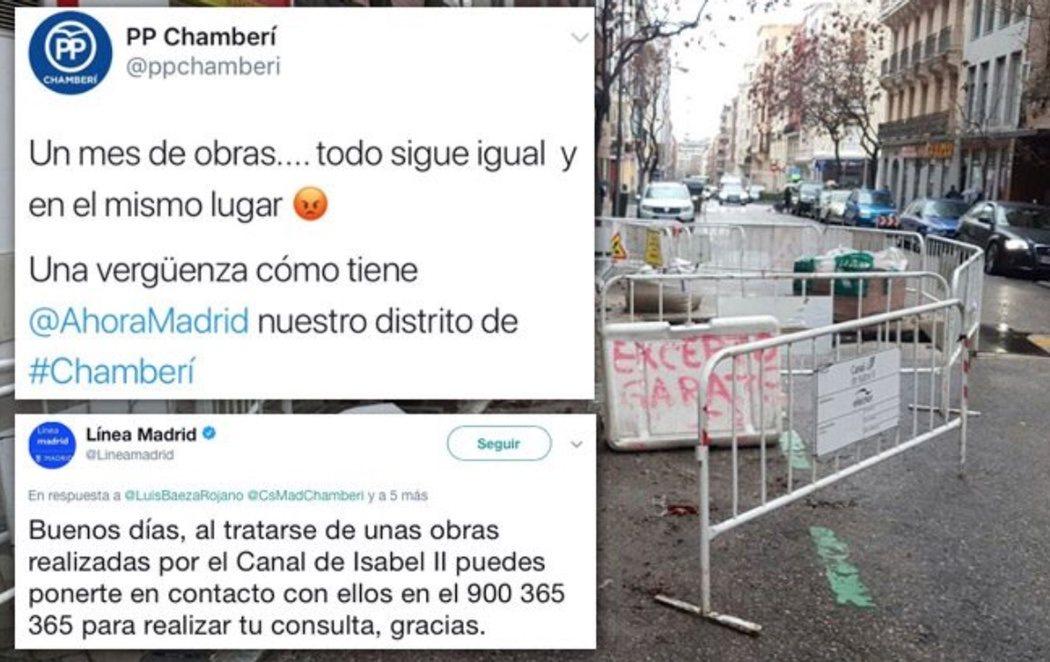 PP y C's culpan a Carmena de unas obras que son responsabilidad de Cifuentes