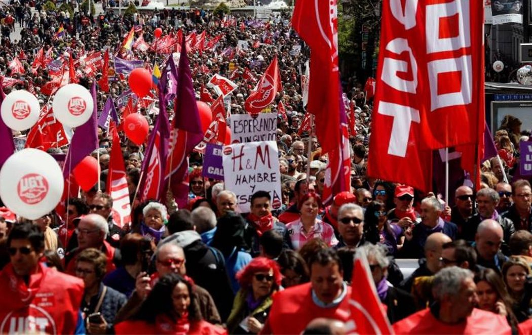 Multitudinarias manifestaciones en 70 ciudades españolas por el Día del Trabajador