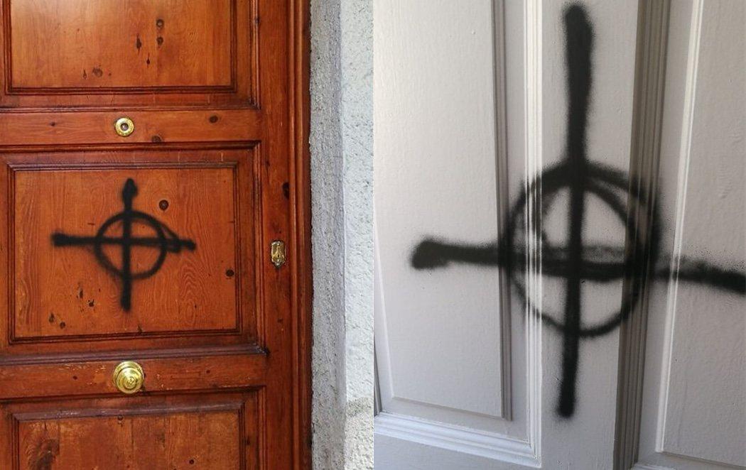 Pintadas fascistas en las puertas de las casas de dos militantes de ERC en Sabadell