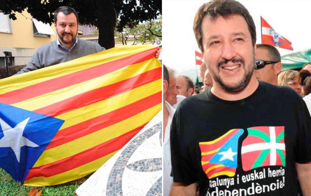 El líder de extrema derecha, Matteo Salvini, se fotografía con una estelada