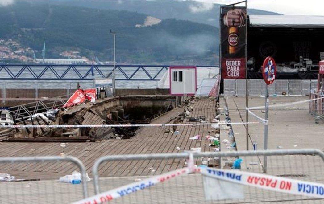 Más de 300 heridos tras el desplome de un paseo marítimo en Vigo durante un festival