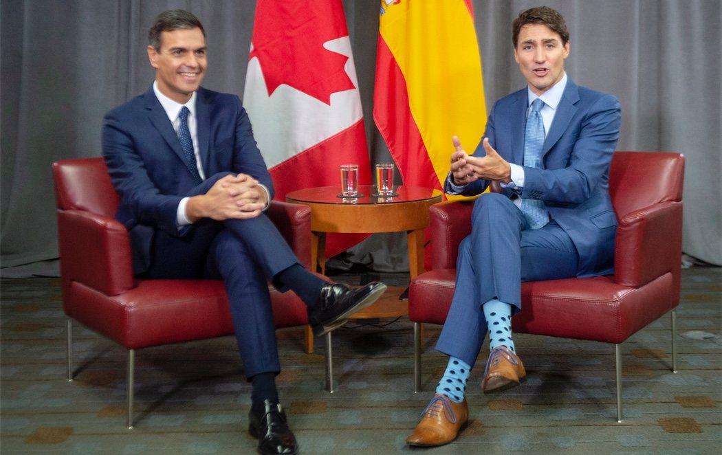 Los calcetines de Justin Trudeau, protagonistas en su reunión con Pedro Sánchez