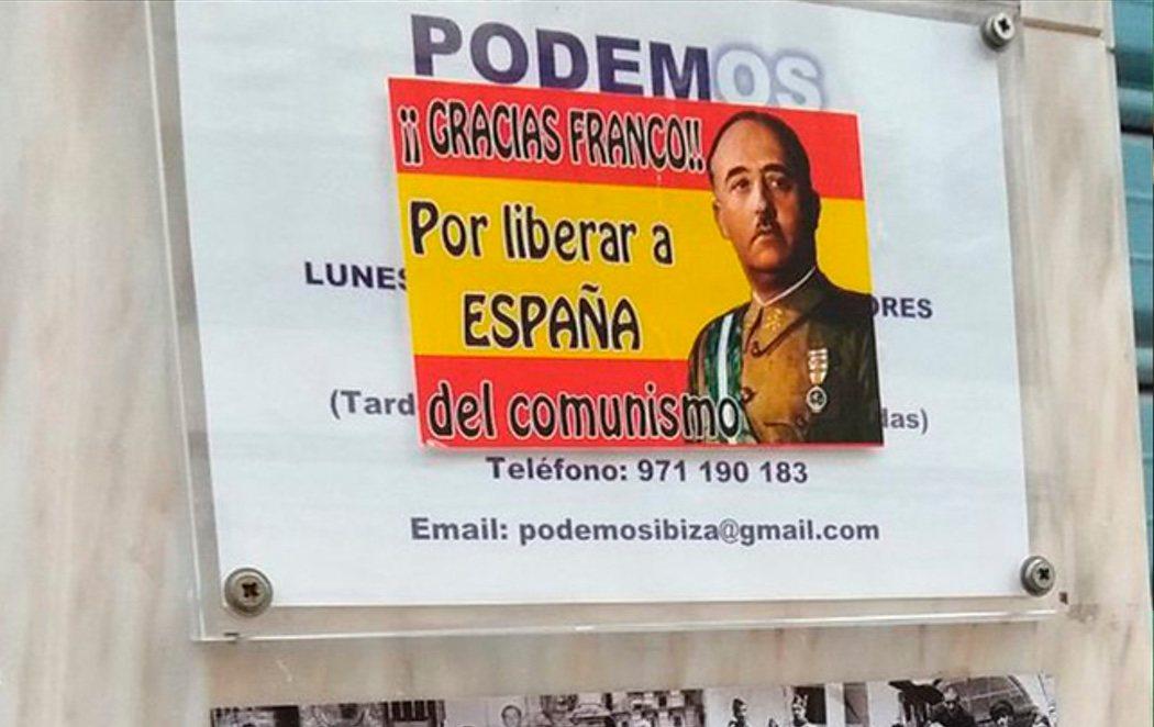 Colocan pegatinas franquistas en las sedes del PSOE y Podemos